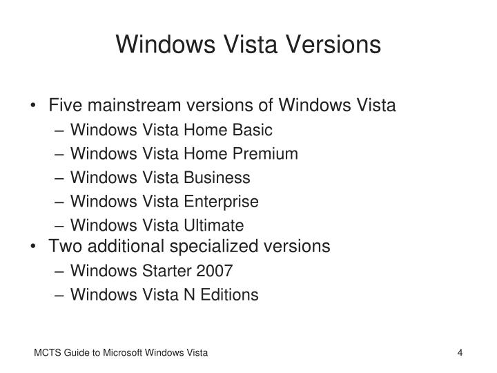 Windows Vista Versions