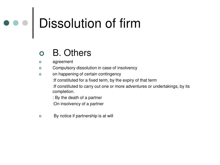 Dissolution of firm