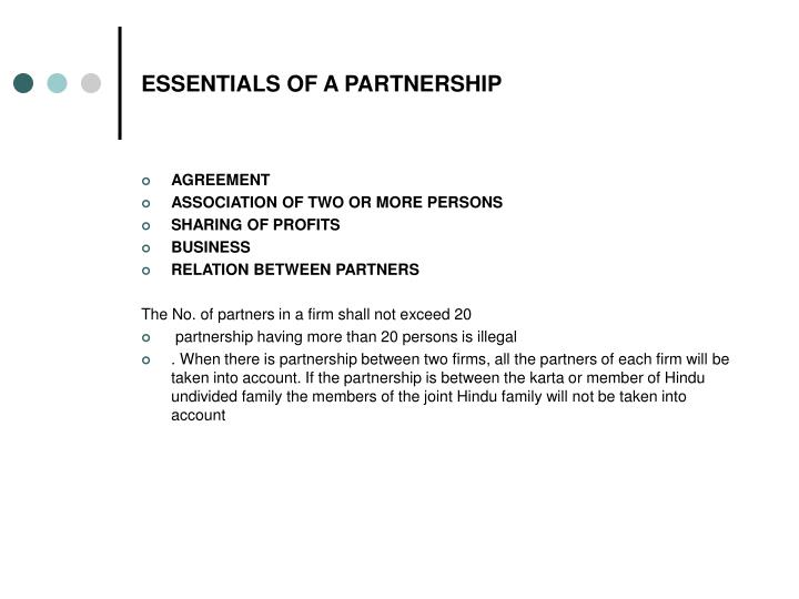 Essentials of a partnership