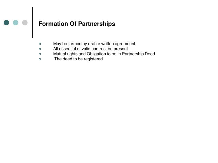 Formation Of Partnerships