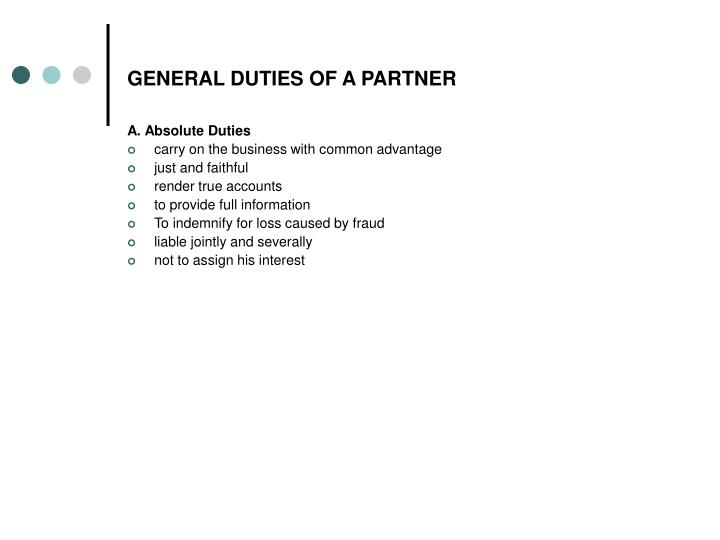 GENERAL DUTIES OF A PARTNER