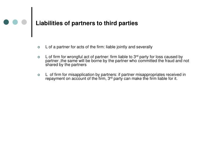 Liabilities of partners to third parties