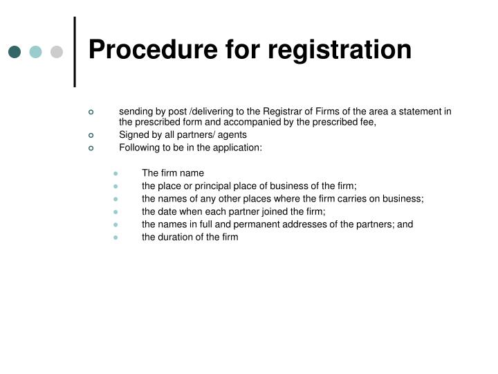 Procedure for registration