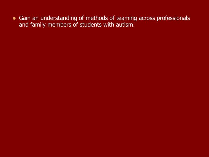 Gain an understanding of methods of teaming across professionals and family members of students with autism.