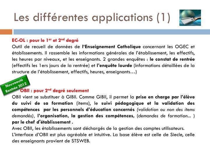 Les différentes applications (1)
