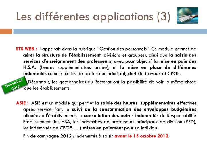 Les différentes applications (3)