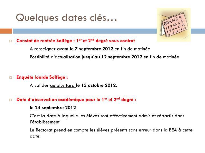 Quelques dates clés…
