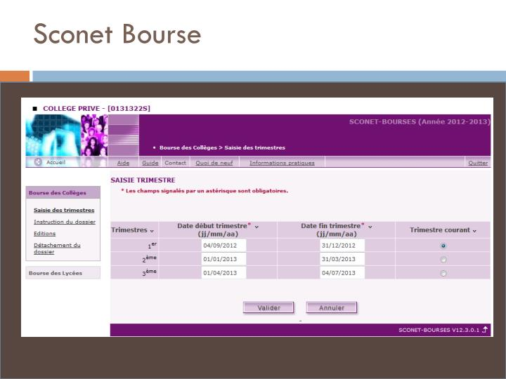 Sconet Bourse