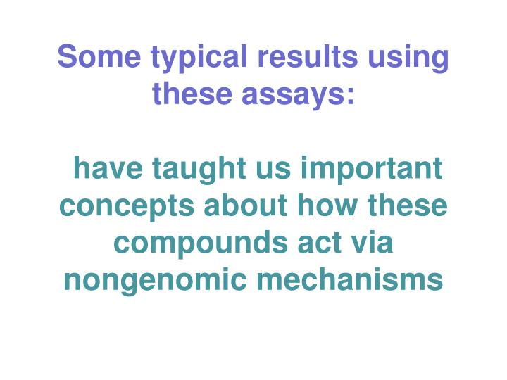 Some typical results using these assays: