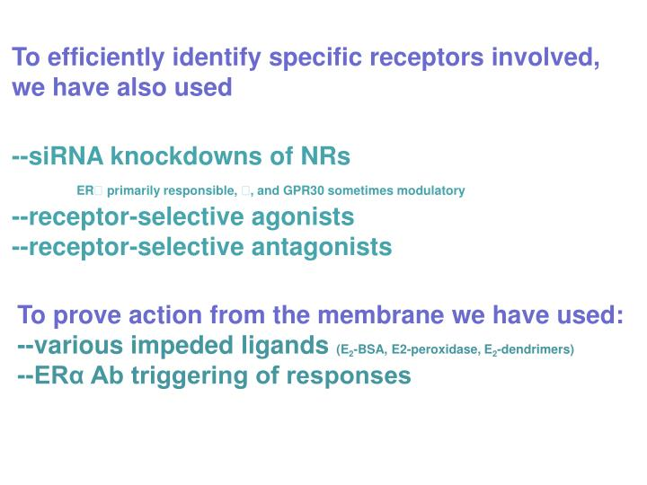 To efficiently identify specific receptors involved, we have also used