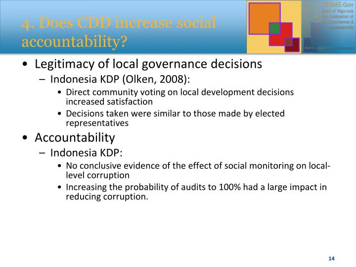 4. Does CDD increase social accountability?