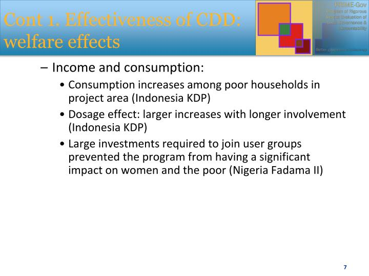 Cont 1. Effectiveness of CDD: welfare effects