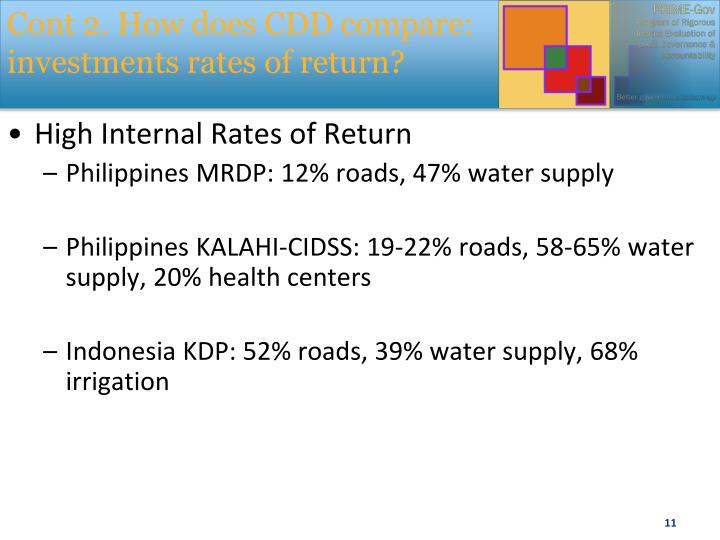 Cont 2. How does CDD compare: investments rates of return?