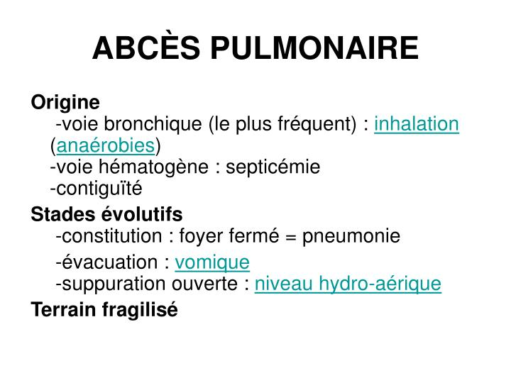 ABCÈS PULMONAIRE