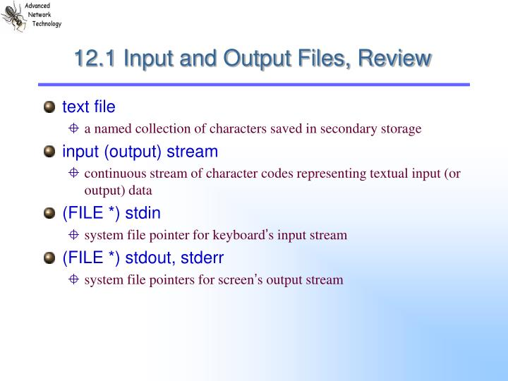 12.1 Input and Output Files, Review