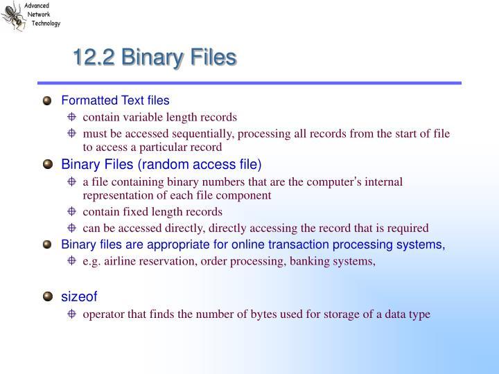 12.2 Binary Files