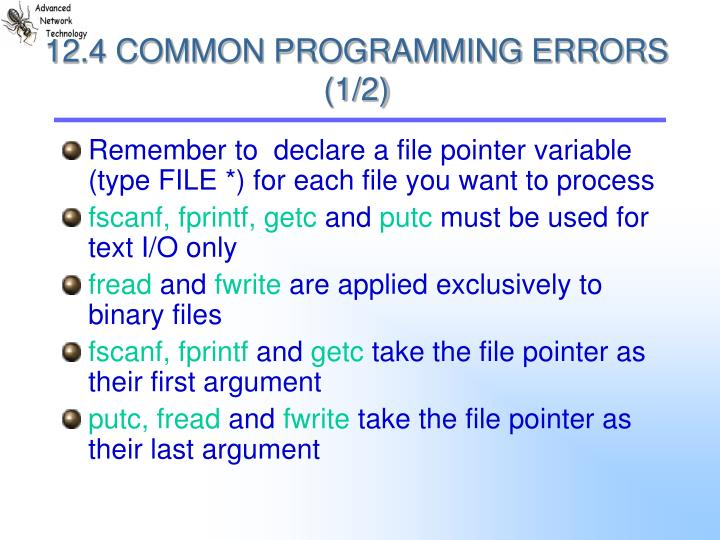 12.4 COMMON PROGRAMMING ERRORS