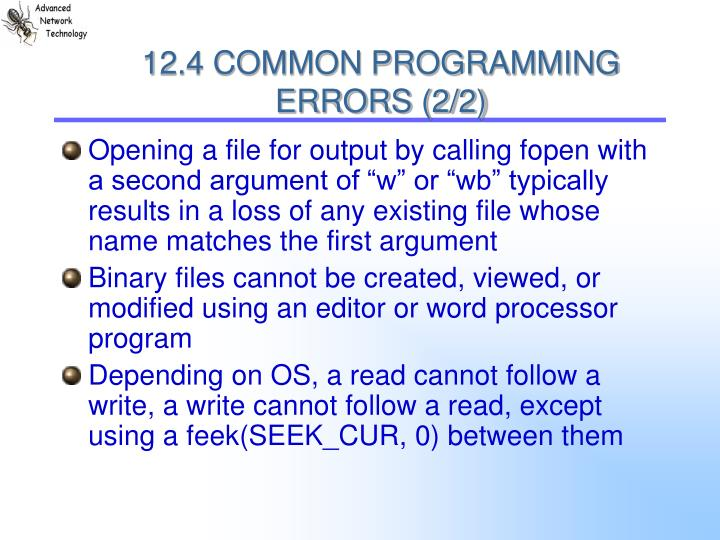 12.4 COMMON PROGRAMMING ERRORS (2/2)