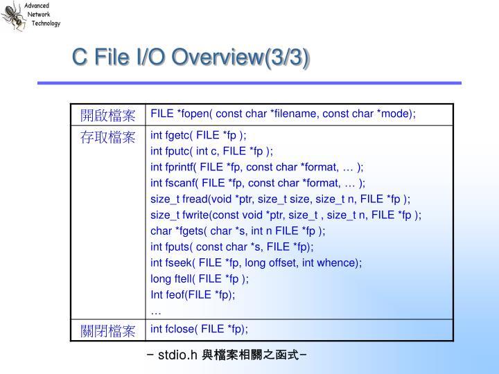 C File I/O Overview(3/3)