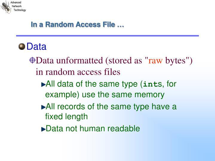 In a Random Access File