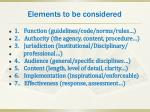 elements to be considered