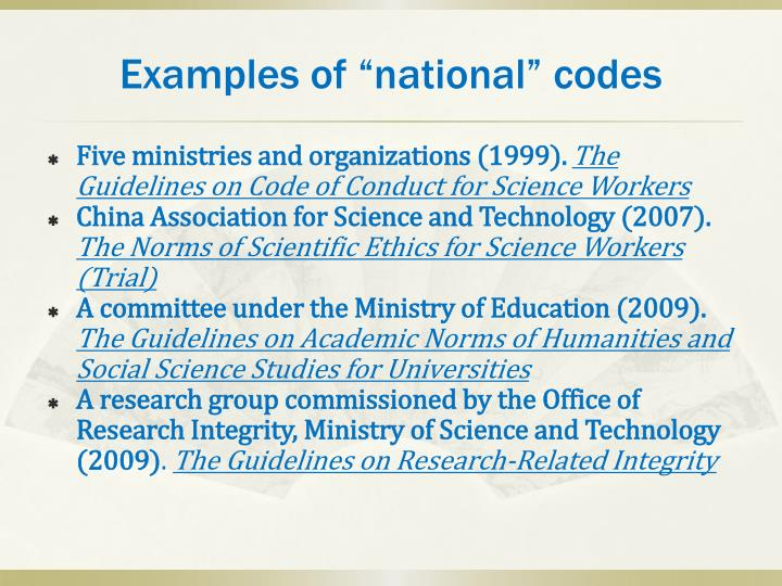 "Examples of ""national"" codes"
