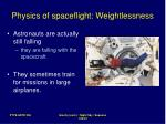 physics of spaceflight weightlessness