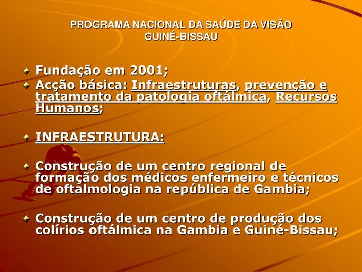 PROGRAMA NACIONAL DA SAÚDE DA VISÃO