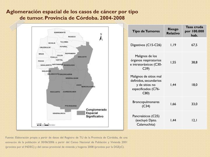 Aglomeración espacial de los casos de cáncer por tipo de tumor. Provincia de Córdoba. 2004-2008
