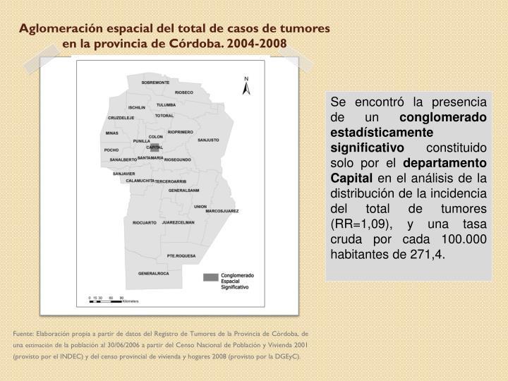 Aglomeración espacial del total de casos de tumores en la provincia de Córdoba. 2004-2008