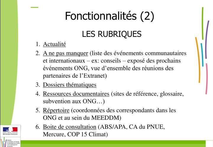 Fonctionnalités (2)