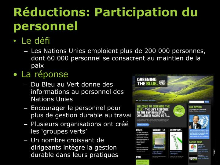 Réductions: Participation du personnel