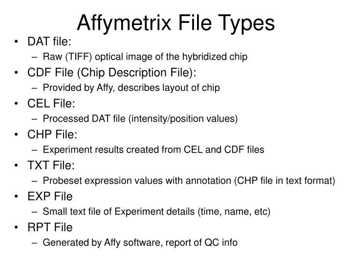 Affymetrix File Types