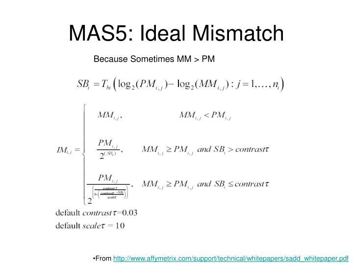 MAS5: Ideal Mismatch