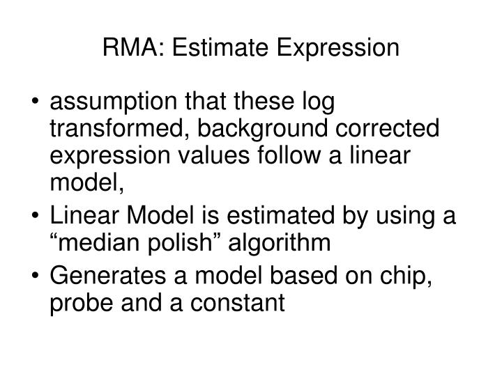 RMA: Estimate Expression