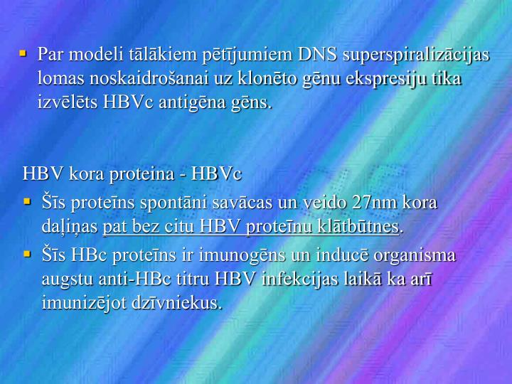 Par modeli tālākiem pētījumiem DNS superspiralizācijas lomas noskaidrošanai uz klonēto gēnu ekspresiju tika izvēlēts HBVc antigēna gēns.