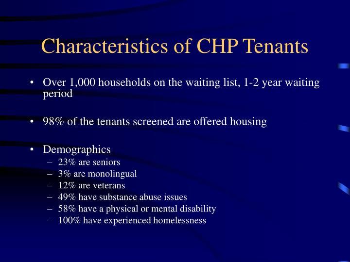 Characteristics of CHP Tenants