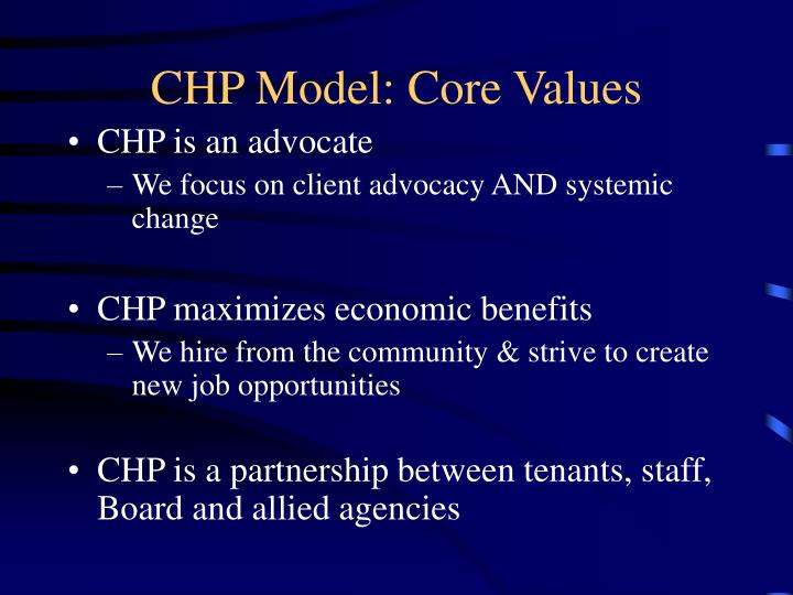 CHP Model: Core Values