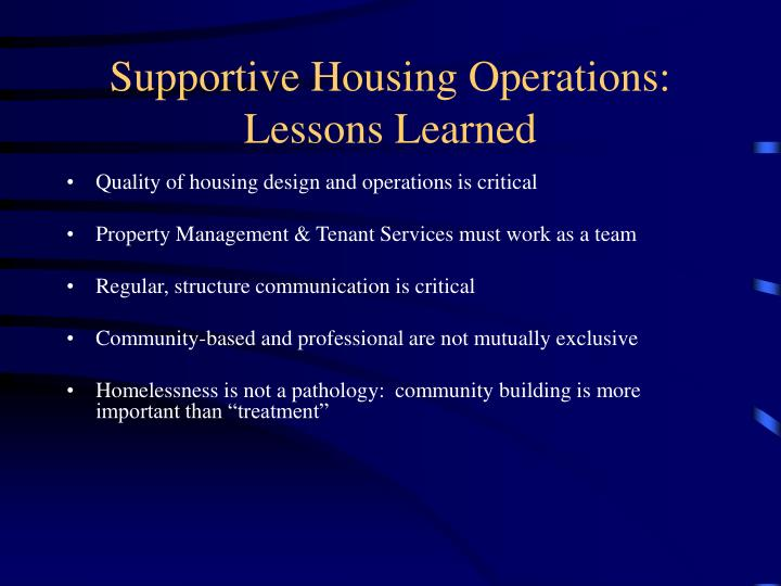 Supportive Housing Operations:
