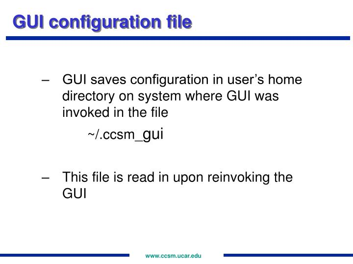 GUI configuration file