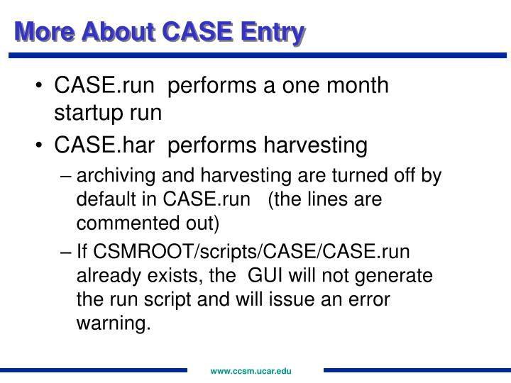 More About CASE Entry