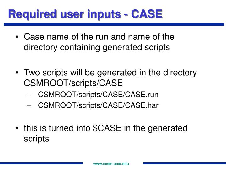 Required user inputs - CASE