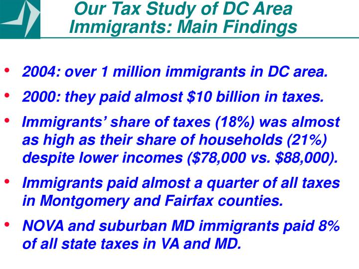 Our Tax Study of DC Area Immigrants: Main Findings