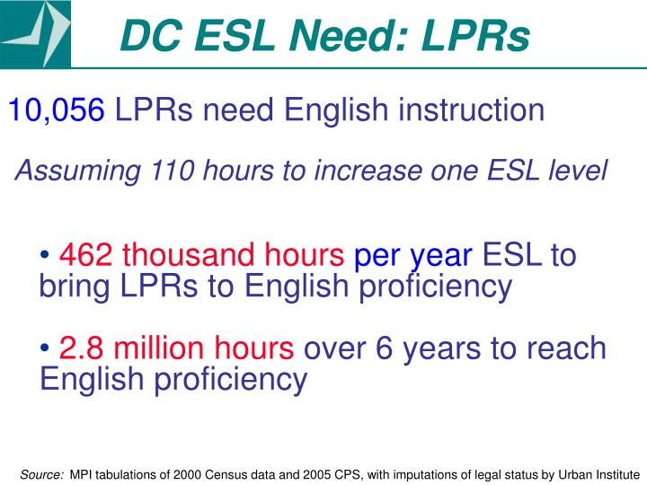 DC ESL Need: LPRs