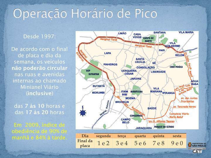 Operação Horário de Pico