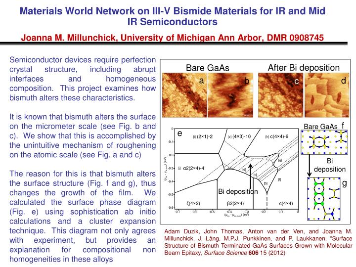 Materials World Network on III-V Bismide Materials for IR and Mid IR Semiconductors