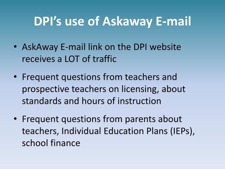 DPI's use of