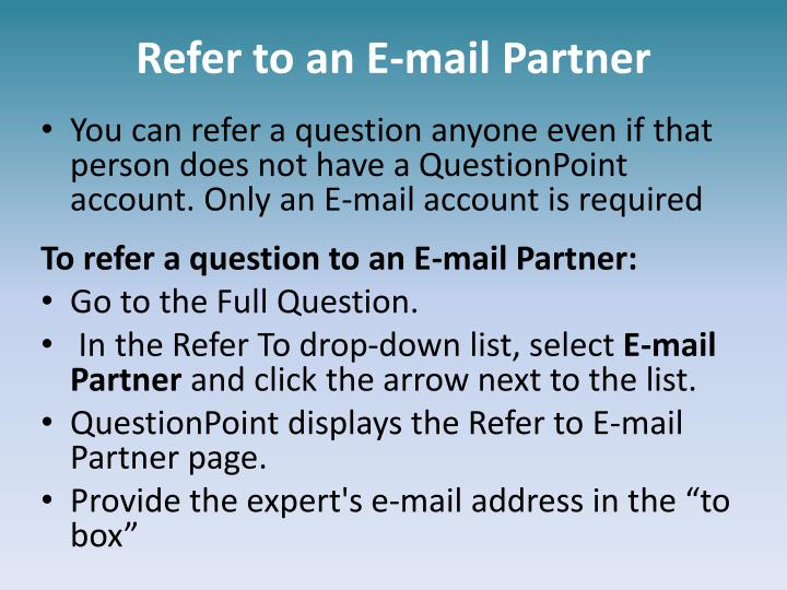 Refer to an E-mail Partner