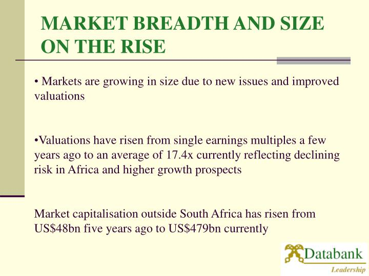 MARKET BREADTH AND SIZE ON THE RISE