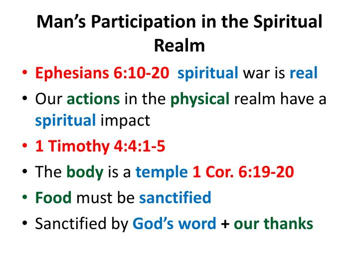 Man s participation in the spiritual realm1